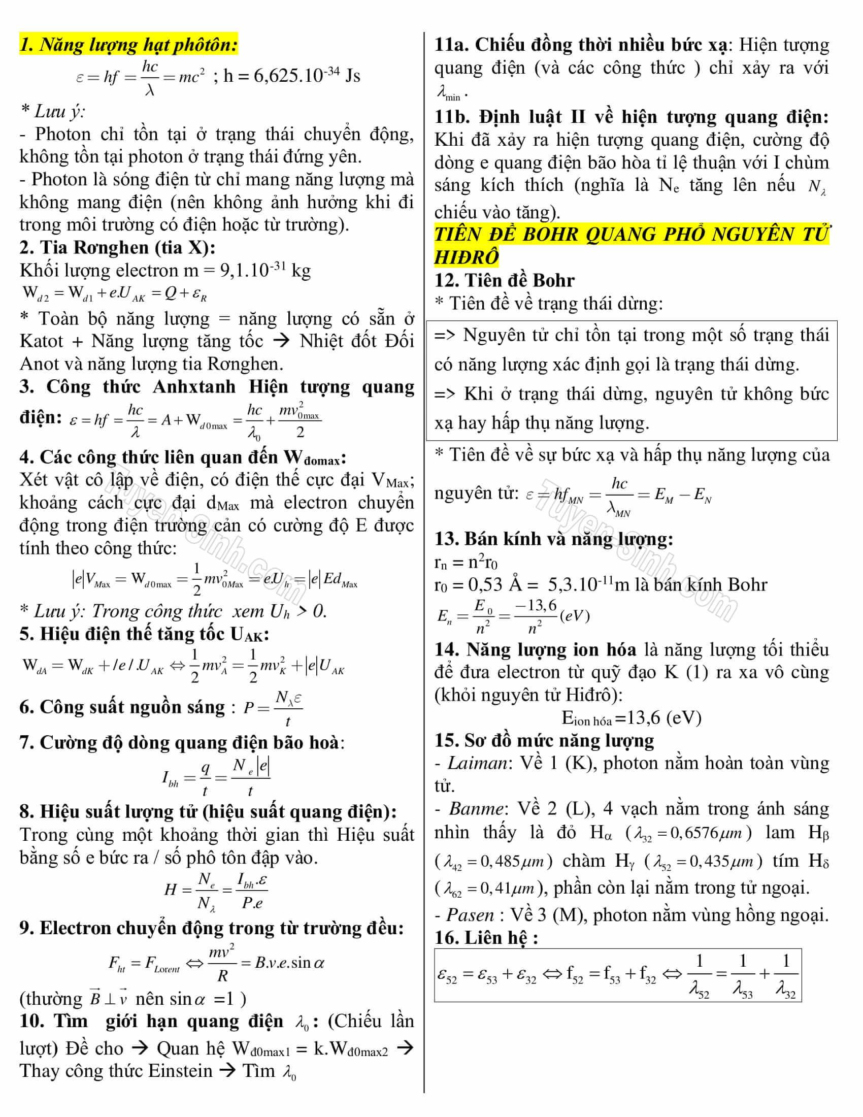 công thức vật lý 12 nâng cao