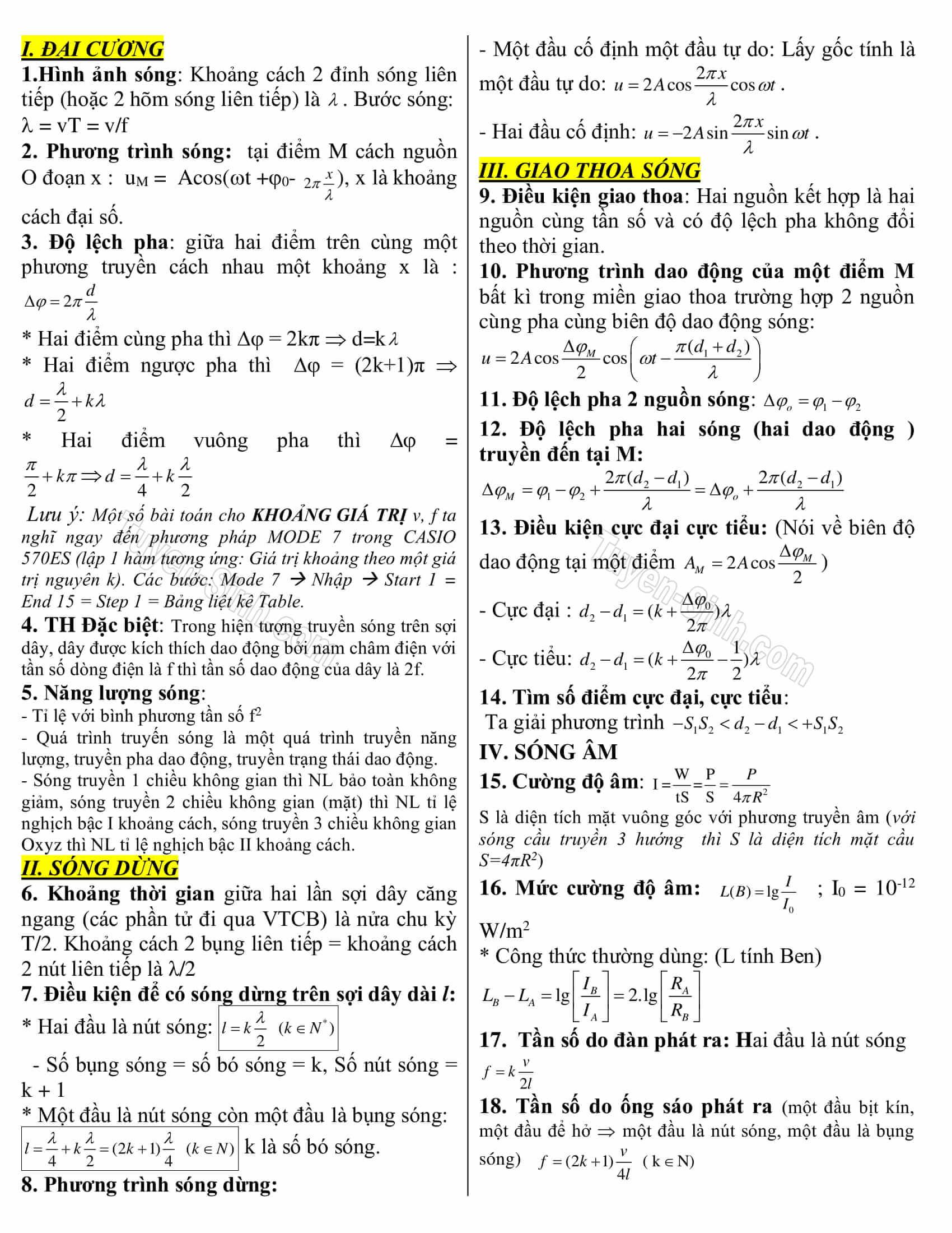 tất cả công thức vật lý 12