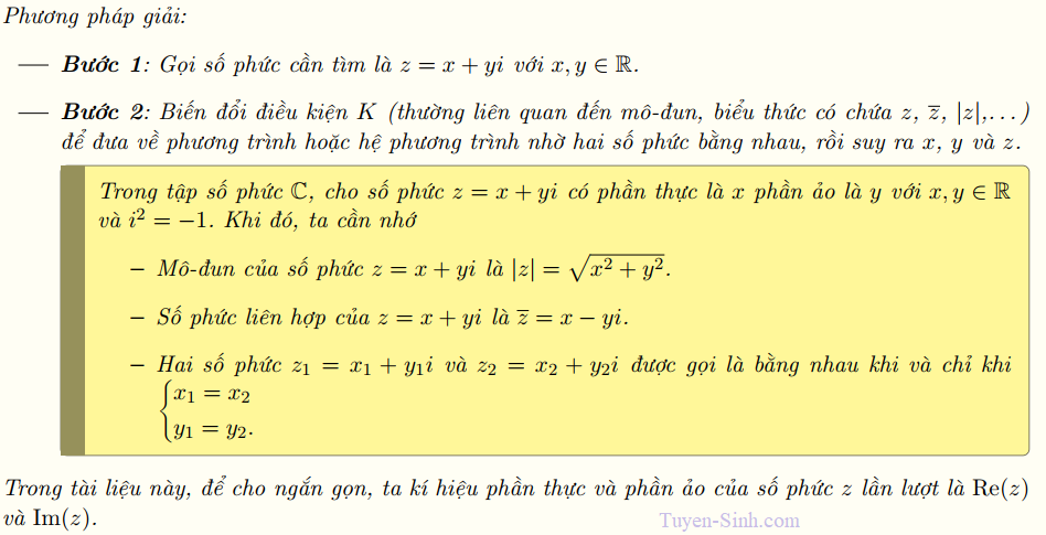 Giải phương trình bậc 2 số phức